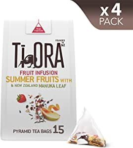 Ti Ora Fruit Infusion - Summer Fruits & New Zealand Manuka Leaf - 4 Packs of 15 Pyramid Tea Bags (60 Serves), 4 x 30 g