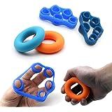musculation doigts - Durcisseur sous la main Grip Entraînement Set – 4 Pack( 2 anneaux de serrage pour les mains et de 2 d'étirement pour les doigts ), doigts Trainer, châssis de doigts