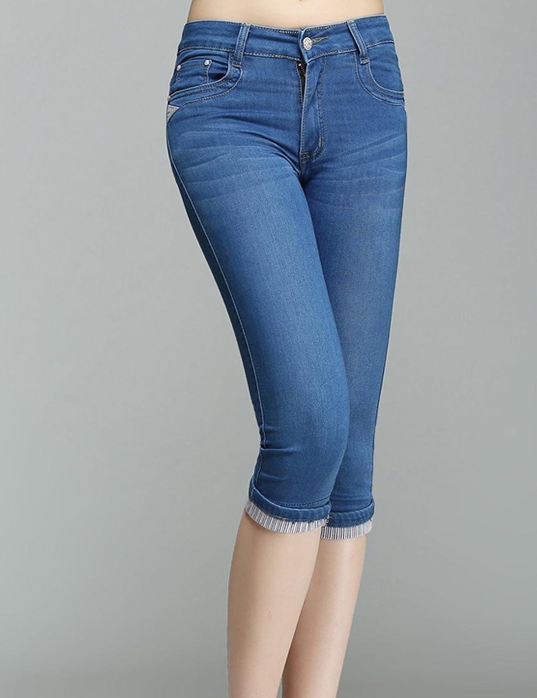 抖���ފxn�)_dayi 达依 女式 夏新款高腰弹力牛仔七分裤女 显瘦大码中年女裤 da-xn
