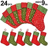 Ivenf 24 Pack 9'' Snowflake Mini Christmas Stockings Gift Card Bags Holders, Bulk Personalized Holiday Treats for Neighbors Coworkers Kids Cats Dogs, Small Rustic Felt Red Xmas Tree Decorations Set