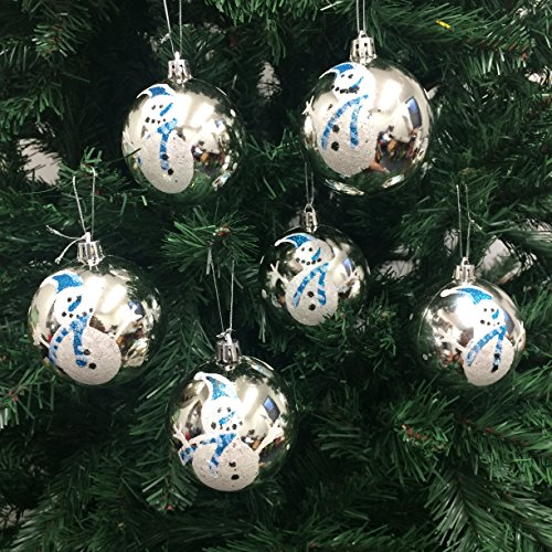 PEPPERLONELY 6PC/Pack Shatterproof Christmas Ball Ornaments 70mm (2-3/4 Inch) - Snowman/Silver