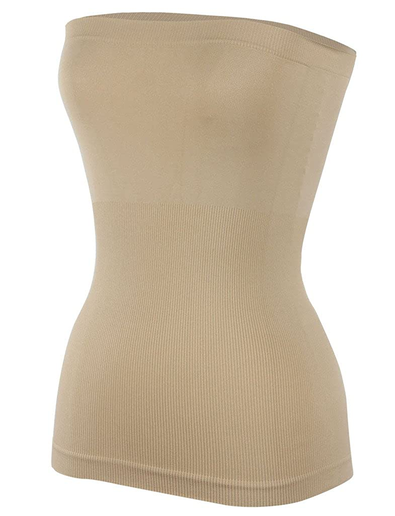 Mb Trend Junior Size Seamless Strapless Layering Ribbed Tube Top One Size Mocha