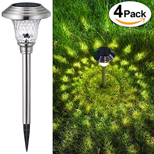 4 Pack Solar Lights Outdoor Garden Path Glass Stainless Steel Waterproof Auto On/off Bright White Wireless Sun Powered Landscape Lighting for Yard Patio Walkway Landscape In-Ground Spike Pathway Light (Bg Outdoor One Light)
