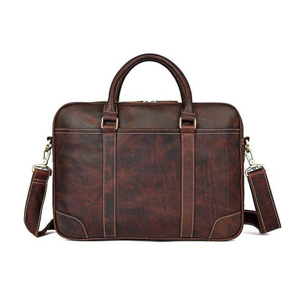 Hengxiang メッセンジャーバッグ、ラップトップブリーフケース、ビジネスレザー メンズメッセンジャーバッグ、15インチコンピューターバッグ、ビジネス弁護士バッグ、ブラウンサイズ:42729cm ビジネスオフィスメッセンジャーバッグ(色:チョコレート)   B07PCQP2Q8