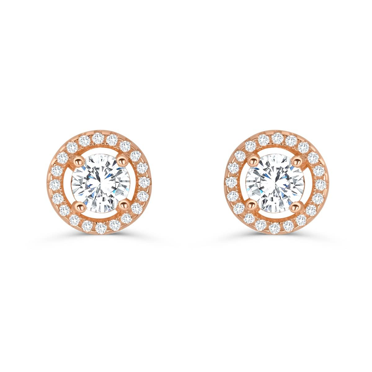 Amazon.com  Stunning Rose Gold Plated Sterling Silver CZ Earrings Stud -  Silver Earrings For Women  Jewelry 2e8fbd19dd