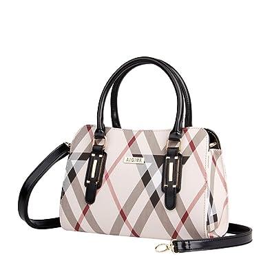 5c6c2f3f9e6 Women's plaid Leather Handbags Female large Shoulder bag Messenger Bag  Ladies Crossbody Bags 7019