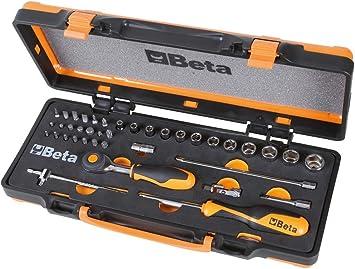 Beta 900/C12MR - Juego de 12 llaves de vaso hexagonales, 20 puntas para destornilladores y 7 accesorios de termoformato suave, en caja de chapa: Amazon.es: Bricolaje y herramientas