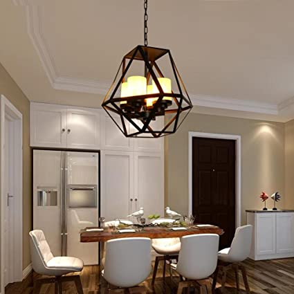 GRFH American Rural Single Chandelier Dining Table Pendant Iron Art Ring Candle Lamp Retro