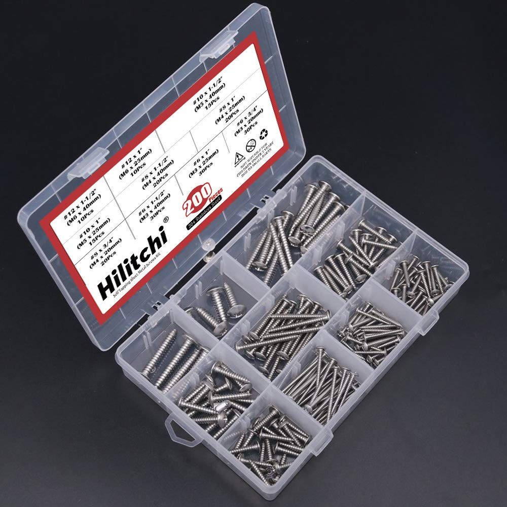 Hilitchi 200-Pcs 304 Stainless Steel Phillips Truss Head Self Tapping Sheet Metal Screws Assortment Kit Set Length 3//4 to 1-1//2 Thread Size #6#8#10#12