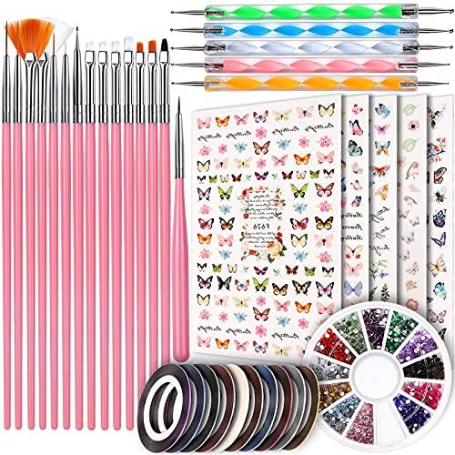 Stickers pinceles, puntas, cintas y gemas kit para nail art
