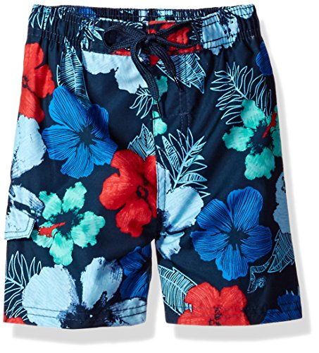 Kanu Surf Big Boys' Hangout Floral Quick Dry Beach Board Shorts Swim Trunk, Navy/Red, Medium (10/12) ()