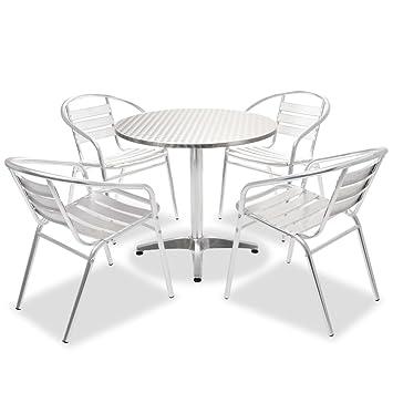 vidaXL Bistro Set 5-tlg. Aluminium Tisch Stapelbar Stuhl Gartenmöbel ...