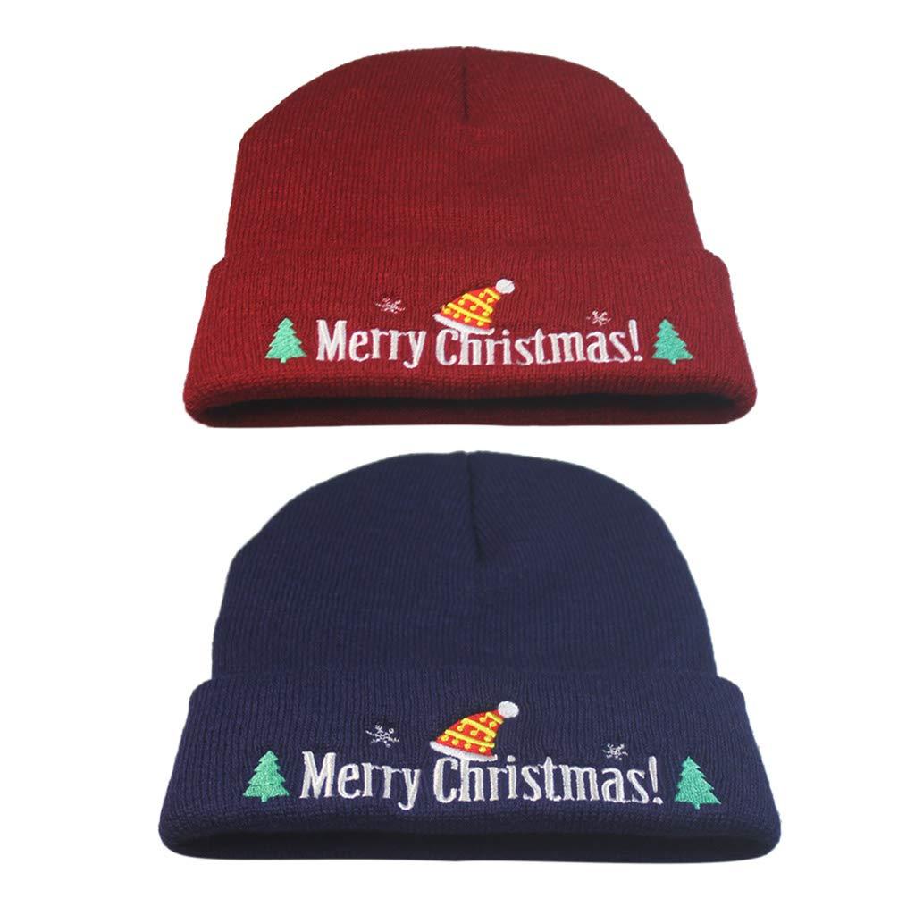 4ecd19c98 Freshsell Unisex Merry Christmas Knitted Hat Men Women Lovely Cuffed ...