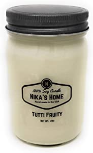 Nika's Home Tutti Fruity 12oz Mason Soy Candle