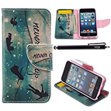 iPod Touch 5 Case, i Touch 6 Case Wallet, iYCK Premium PU Leather Flip Carrying Magnetic Closure Protective Shell Wallet Case Cover for iPod Touch 5/6 with Kickstand Stand - Never Grow Up