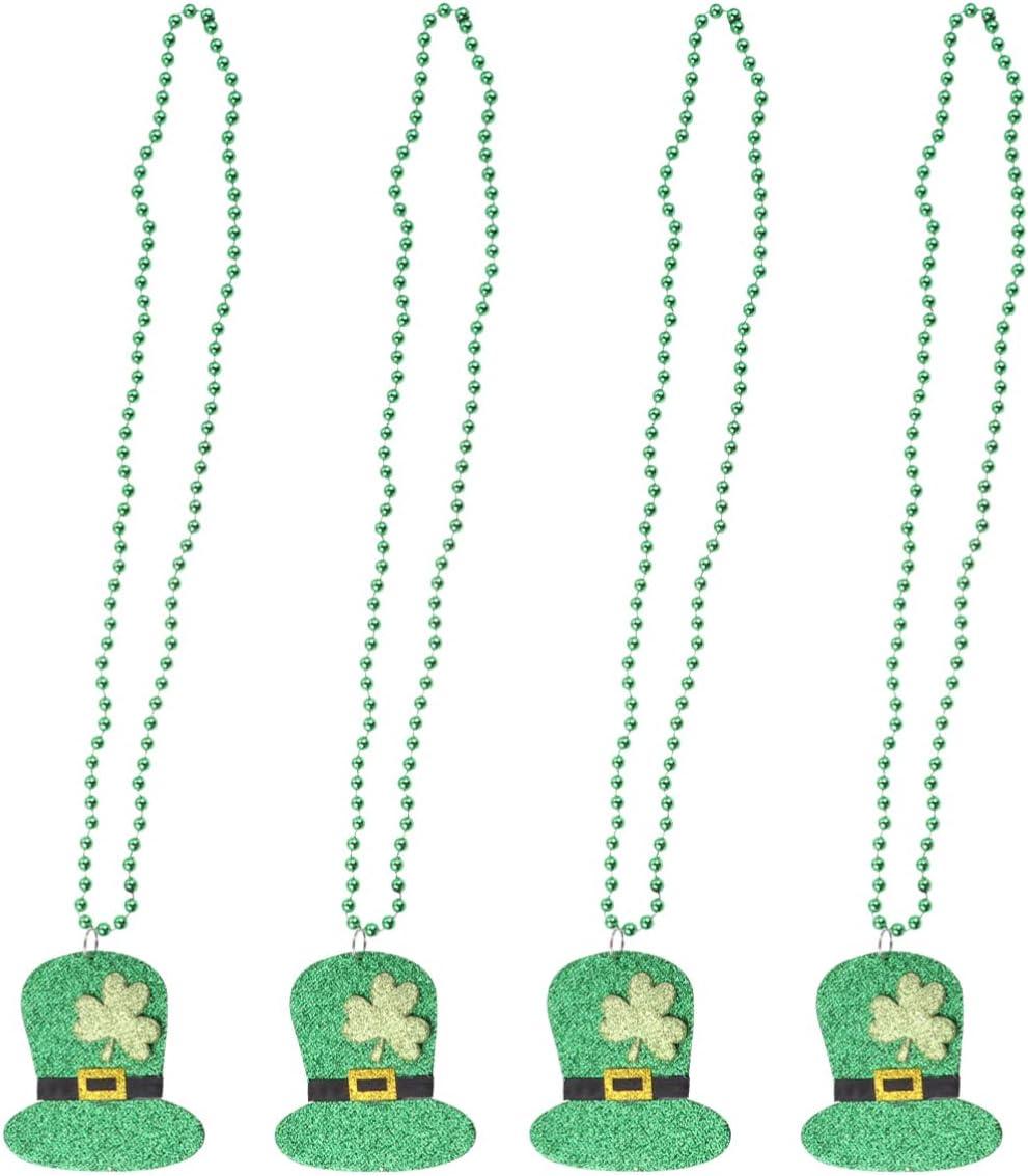 Amosfun S T. Patricks Day Party Favors Lucky Clover Beads Cadena Collar Accesorios de Fotos para Irlandés Festival Amigos Familia Regalo 4Pcs (Patrón 2)