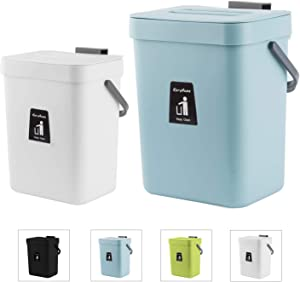 KaryHome CompostBinIndoorKitchenSealed, Mountable Compost Bucket Hanging Waste Bin for Kitchen, 2 Pack,Blue and White