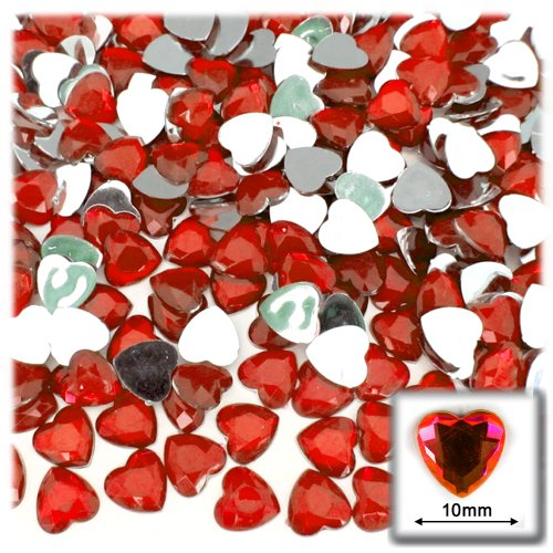 The Crafts Outlet 144-Piece Flat Back Heart Rhinestones, 10mm, Ruby Red