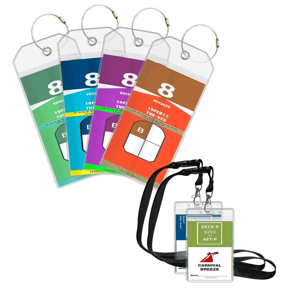 Cruise Luggage Tags Suitcase Labels 4 Pack Cruise Tags & 2 Cruise Lanyard ID Holder Zip Seal and Reusable Steel Loops NTONPOWER Technology Co. Ltd TL4-ID2-US-WH