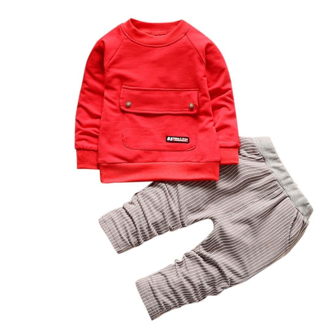 Amlaiworld Bebé niños niñas camiseta + rayas pantalones largos conjunto de ropa 1 Año - 4 Años