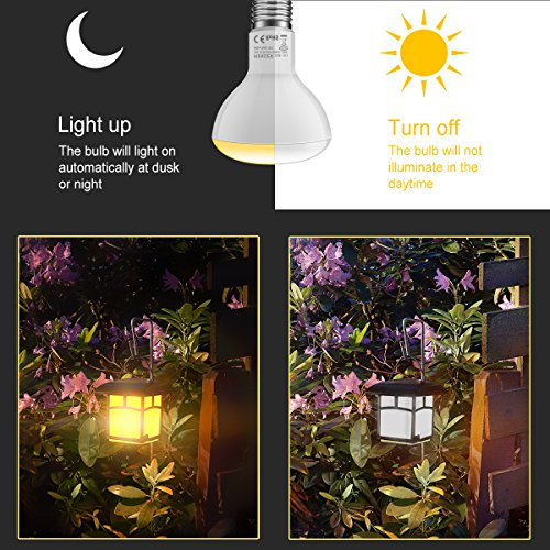MINGER 10W Dusk to Dawn BR30 LED Bulb Light, Auto Turn On Off, 60W Equivalent, 800 Lumens Soft White 2700K, E27 Base, 120°Beam Angle Spotlight, for Indoor and Outdoor 2 Pack by MINGER (Image #3)
