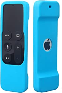 Remote Case Compatible with Apple TV 4K (5th) and 4th Generation, Auswaur Shock Proof Silicone Remote Cover Case Compatible with Apple TV 4th Gen 4K 5th Siri Remote Controller - Blue