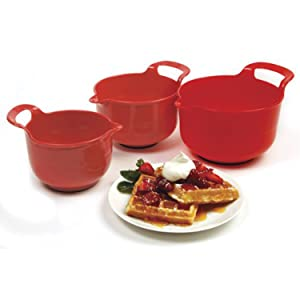 Norpro Mixing Bowls, Red, Set of 3