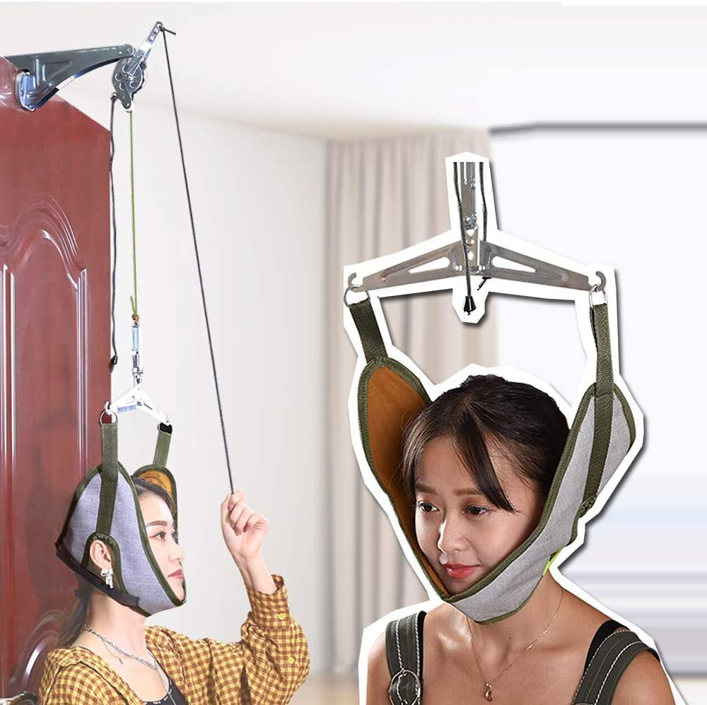 Cervical Neck Traction Device Overdoor Set Neck Stretcher for Pain Relief Home Use Neck Therapy Devices Herniated Disc Spinal Decompression Neck Harness