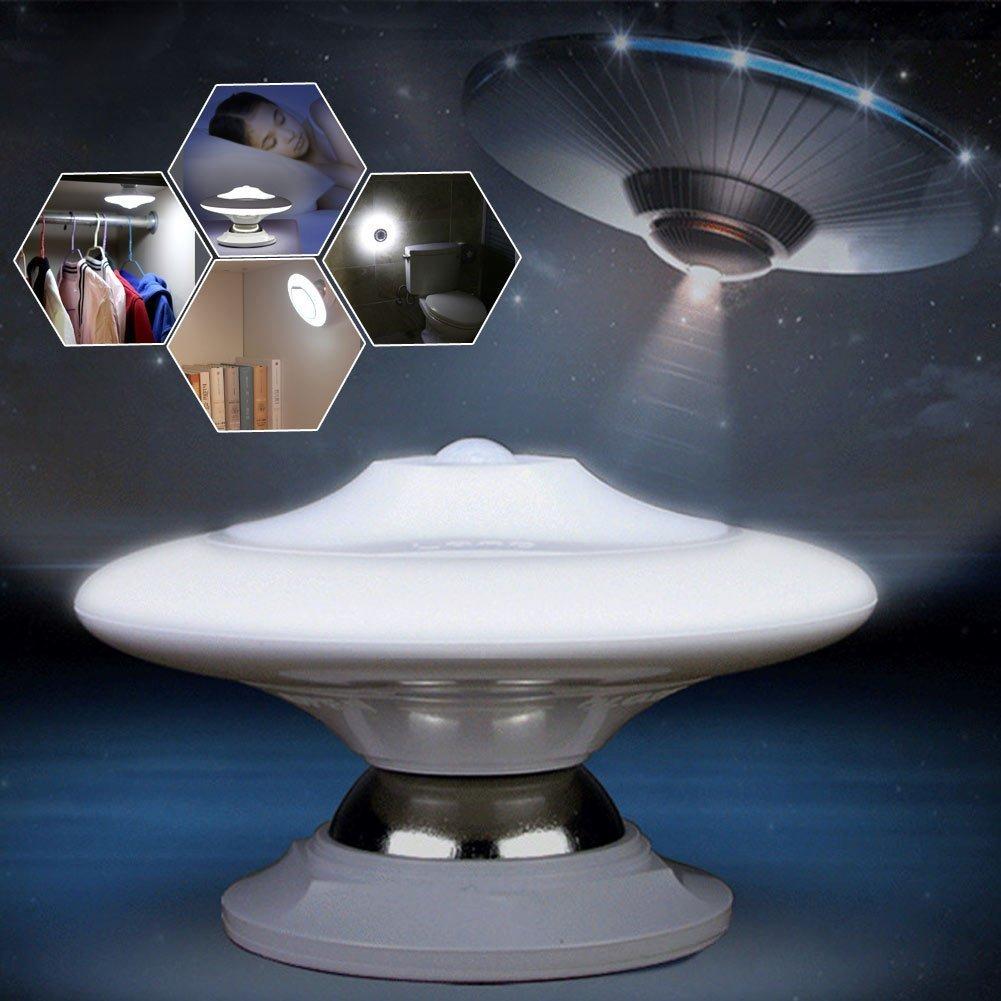 UFOモーションセンサーナイトライト、Emasunセキュリティランプ360 °回転壁ランプwith Detachable磁気ホルダーボディの検出器ランプベッドルームバスルーム階段廊下クローゼットガレージ B07C6CFKQN
