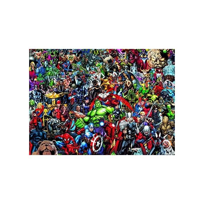 Puzzle adulto 1000 piezas, con láminas de alta calidad de impresión, y troquelado preciso; con los personajes de Marvel y sus superhéroes Un Puzzle de vívidos colores, y alta calidad, para poderlo montar y desmontar cuantas veces se desee Favorece la concentración y las habilidades manuales