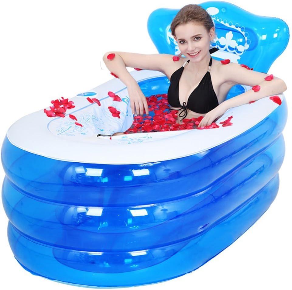 ZDYG Bañera Inflable Plegable con bañera de Respaldo bañera para Adultos bañera de plástico con Bomba de Aire (Tamaño: 130x75x70cm)