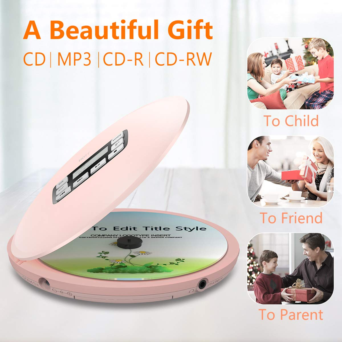 Portable CD Player,HOTT CD611 Small Walkman CD Player with Stereo Headphones USB Cable LED Display Anti-Skip Anti-Shock Personal Compact Disc Music Player (Pink)