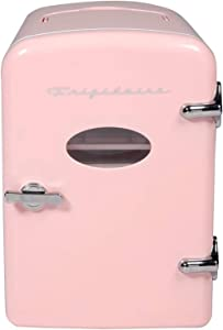 Portable Mini Fridge - Retro Extra Large 9-Can Travel Compact Refrigerator, Pink