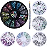 NICOLE DIARY Holographic Marquise Nail Gems Mermaid Rhinestone 3D Nail Diamonds Flat Bottom Resin Crystal Manicure Decoration with 1 Pc Wax Pen Nail Art Rhinestone Picker Tool Kit
