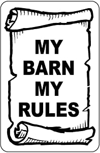 8''x12'' My Barn My Rules Tin Sign Vintage Funny Creature Iron Painting Metal Plate Personality Novelty