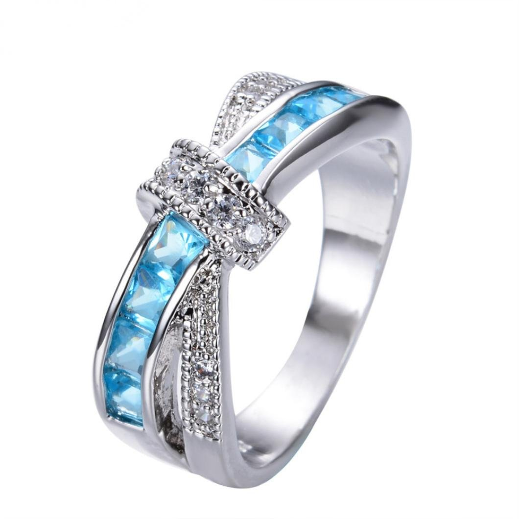 Challyhope Clearance! Exotic Graceful Cute Turquoise Sapphire Crystal Studded Zircon Finger Ring For Women Girls Gifts (Sky Blue, Size 9)