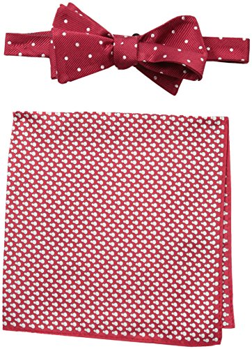 - Tommy Hilfiger Men's Snowman and Dot Self Bow Tie and Pocket Square Set, Red, One Size