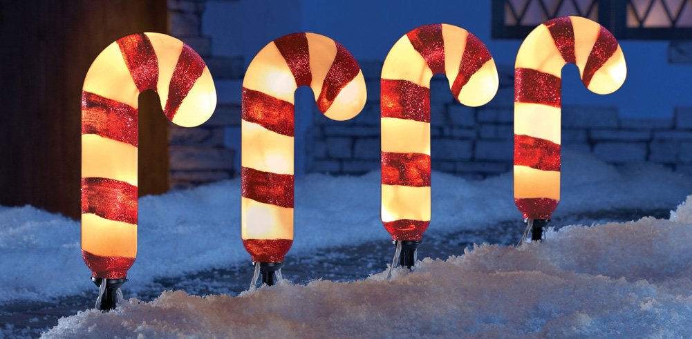 amazoncom set of 4 lighted candy cane garden pathway lights yard outdoor christmas stakes holiday decor home improvement - Christmas Light Yard Stakes