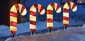 Outdoor Lighted Candy Canes: Set of 4 Lighted Candy Cane Garden Pathway Lights Yard Outdoor Christmas  Stakes Holiday Decor,Lighting