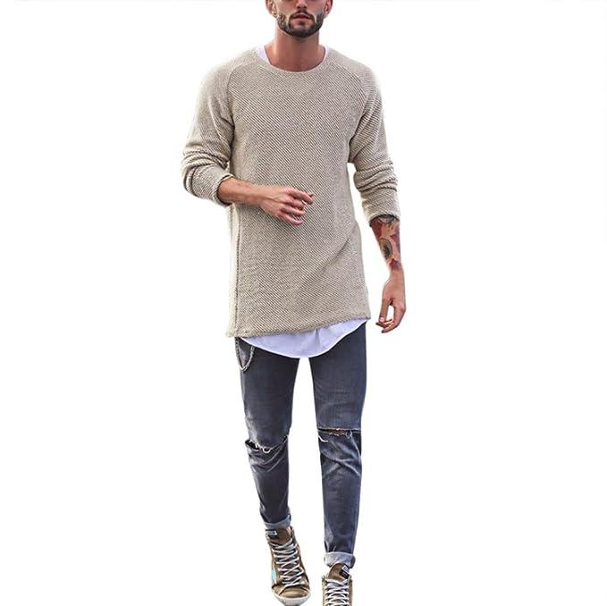 Koly Hombre Moda Vintage Suéter Cuello Redondo Manga Larga suéter pulóver Men Tops Sweater Delgado Ajuste