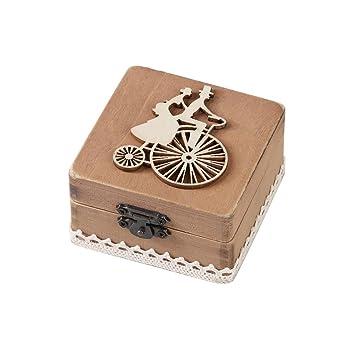 Caja de Slmacenamiento, Personalizada retro boda anillo caja titular mal elegante rústico de madera caja del portador LMMVP (F, Mostrar como la imagen): ...