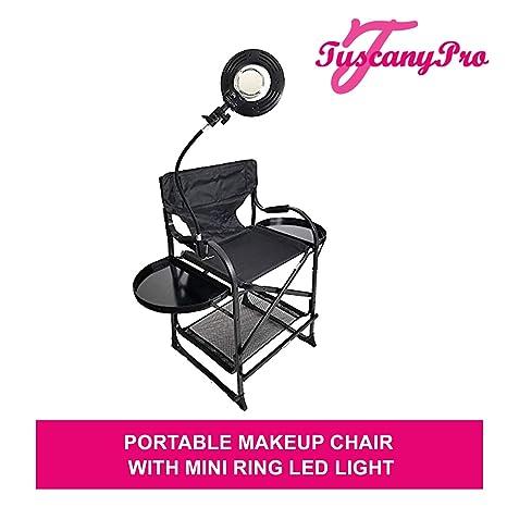 Amazon.com: tuscanypro maquillaje/pelo silla portátil w/Mini ...