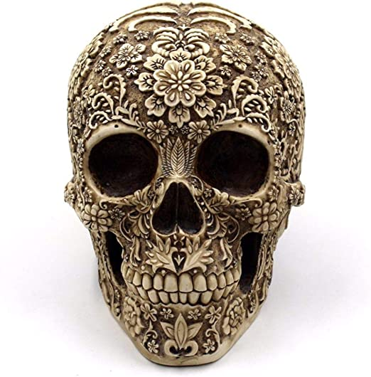 Resin Skull Statue Carved Flower Colorful Vintage Home Decor Office Ornament Skull Model Skull Figurine 1PC