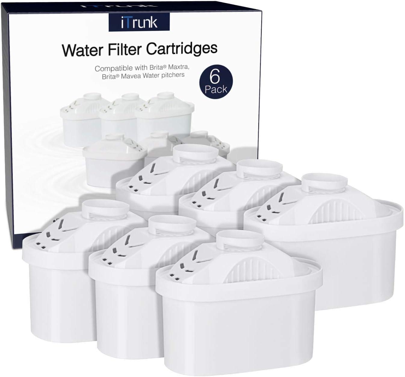 iTrunk Cartuchos de Filtro de Agua para Brita Maxtra Jugs, Paquete de 6 Brita Activated Carbon Softener, Compatible con Brita Mavea Maxtra 105731,1001122,Elemaris,Marella, Aluna Cool (no Maxtra +): Amazon.es: Hogar