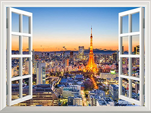 Wall26 Removable Wall Sticker / Wall Mural - Tokyo, Japan skyline at Tokyo Tower | Creative Window View Home Decor / Wall Decor - (Window Japan)