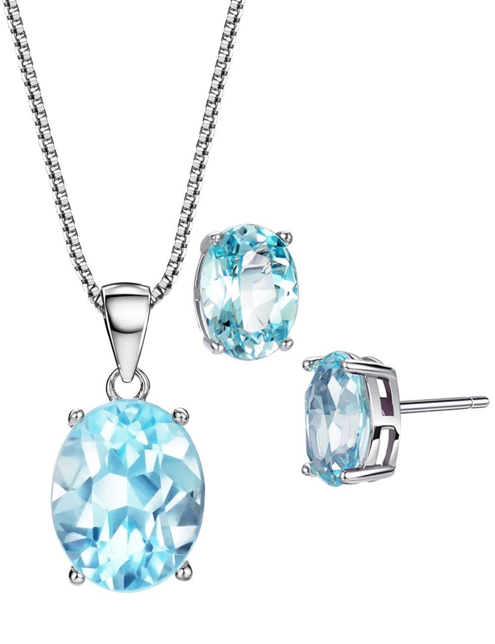 Topaz Jewelry Set Swiss Blue Sterling Silver 3.8 cttw November Birthstone Gemstone Fine Jewelry for Women