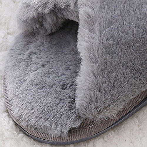 fausse Sandales Gris Slipper doux Tongs plat fourrure Femmes Fluffy Chaussures OHQ plat zIgZqna
