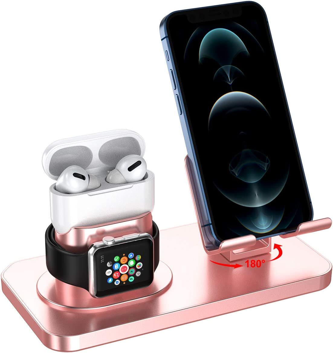 JSDTHL Stand Compatible with Apple Watch Series 6/5/4/3/2/1/SE, iPhone 12 Pro/12/11/X/XR/8/8 Plus/7/7 Plus/6S/6/SE/5S/5 and Airpods Pro/3/2/1 (Rose Gold)