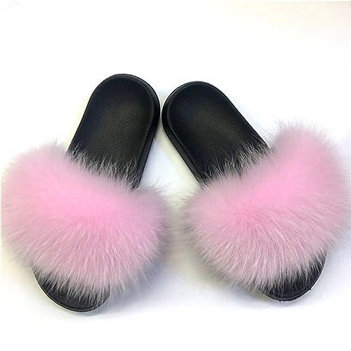 a57d2e32 W6LDiJLddl Fox Fur Slippers Real Fox Hair Slides Female Furry Indoor Flip  Flops Casual Beach Sandals