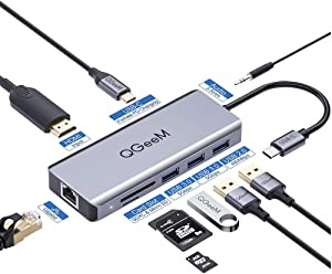 USB C Hub, QGeeM 9-in-1 USB C Dongle with HDMI 4K, 100W PD Charging, USB 3.0/2.0, USB C to 3.5mm, Gigabit Ethernet, SD/Micro Card Reader, Laptop Docking Station Compatible with More USB-C Devices